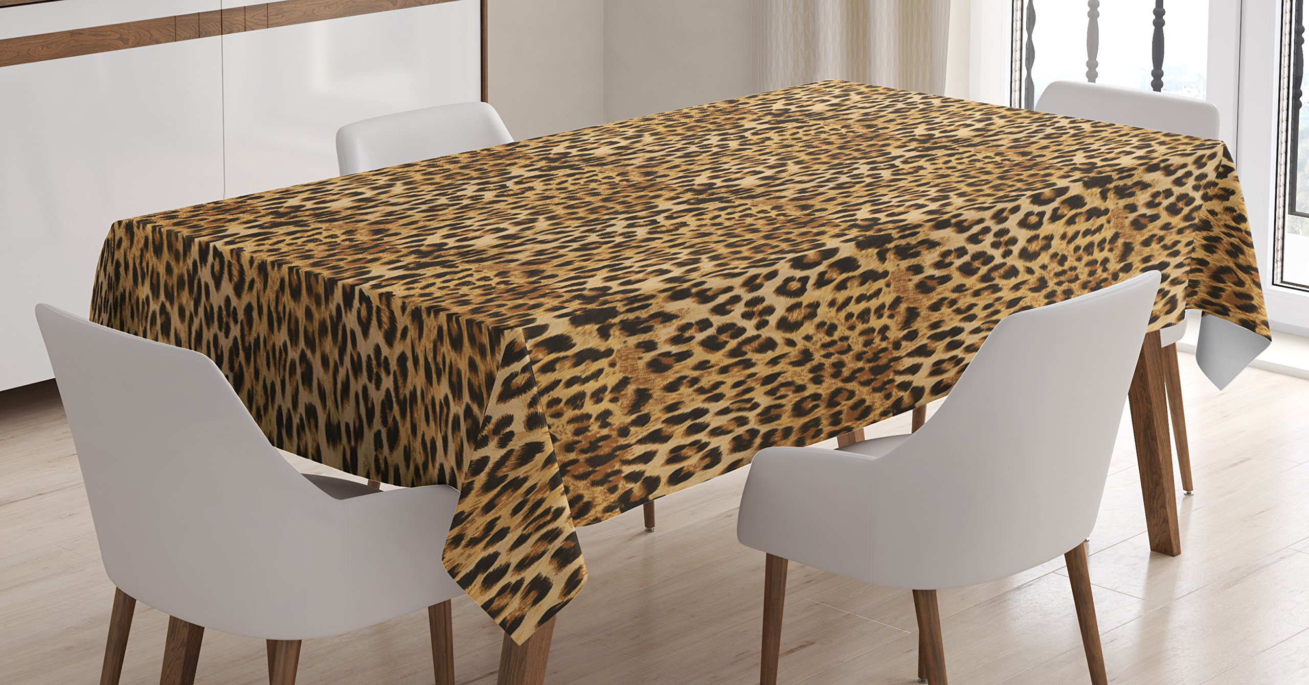 Ambesonne Brown Tablecloth, Leopard Print Animal Skin Digital Printed Wild African Safari Themed Spotted Pattern, Dining Room Kitchen Rectangular Table Cover, 60 X 90 inches, Brown