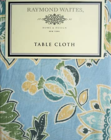 Raymond Waites Fabric Tablecloth Blue Green Yellow Gray Floral Pattern On  Blue    60 Inches