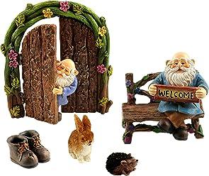 Pretmanns Miniature Gnomes For Fairy Garden – Miniature Gnome Figurines & Accessories – 6 Piece Set – Fairy Garden Supplies