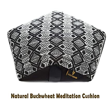 Victoria Peak Natural Buckwheat Meditation Cushion – Highly Comfortable Zafu Yoga Cushion for Spine Alignment | Knitted Design with Removable Cover