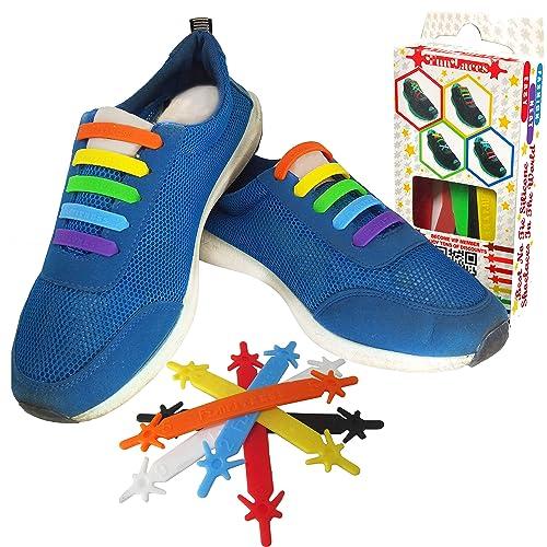 FunFitness Cordones Elasticos Gomas ☆ Cordón Elasticas Zapatillas de Silicona para Halar y Bloquear Fácilmente ☆ Perfecto para Niños o Adultos Mayores con ...