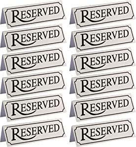 Juvale 12 Pack Reserved Metal Table Tent Sign for Restaurant and Weddings