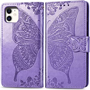 Compatible with iPhone 11 flip Case,Butterfly Heavy Duty Flip Leather Cover Card Slot Holder Closure Magnetic Phone Case with Lanyard, Designed for Apple iPhone 11 Case - Lavender