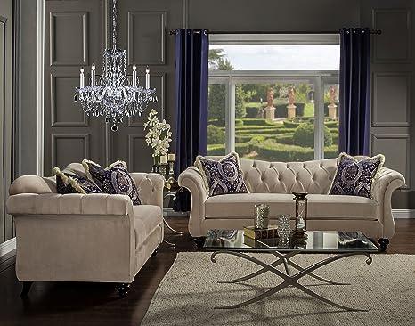 Amazon.com: Muebles de América 2 pieza ivorah Glamorous ...
