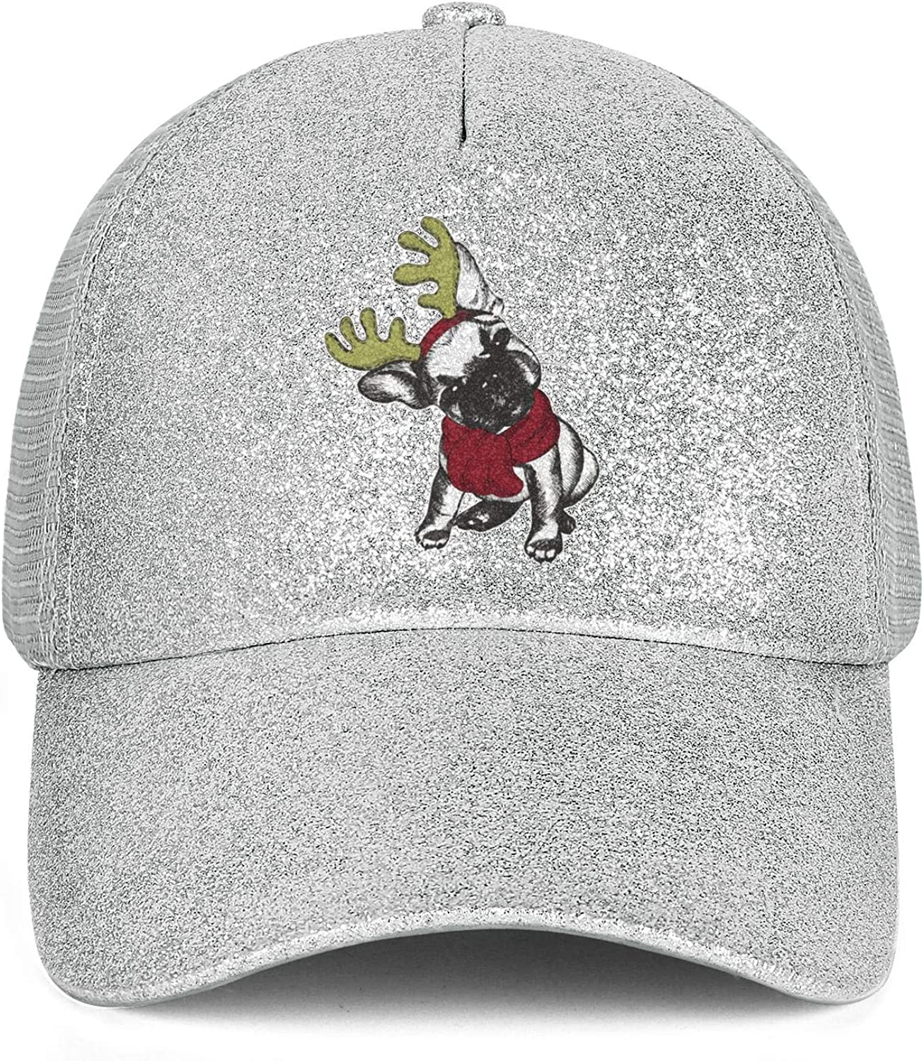 Sale23 French Bulldog Christmas Moose HornWomenMeshBallPonytail Messy Cap Adjustable SnapbackSun Hat