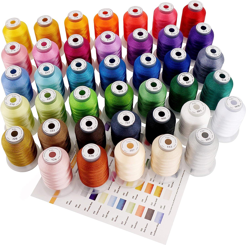 New brothread 40 Brother Colores Poliéster Máquina Bordado Hilo - 550yds (500 Metros) para máquina de bordar y coser