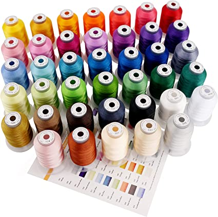New Simthread 40 Spools Brother Polyester Embroidery Thread for Brother Babylock Janome Singer Husqvarna Bernina Sewing Machines