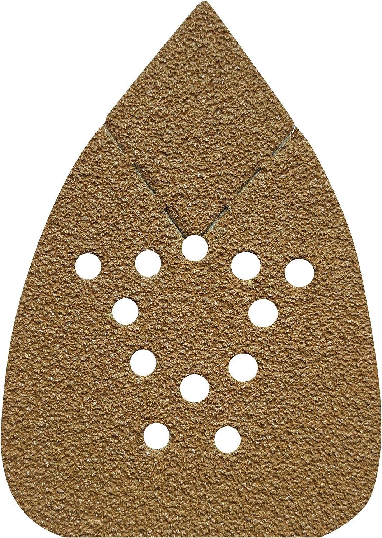 FUGEN Gold 100PCS Mouse Sander Pads for Black Decker Mouse Sander (BDCMS20C, BDEMS600, BDAMX etc) and Porter Cable Mouse Sander Assorted 40 80 120 240 400 Grit Mouse Sandpaper Mouse Sanding Pads