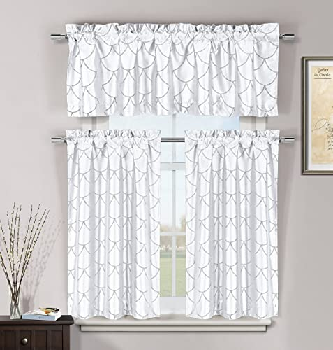 Duck River Textile Fish Scales Metallic 3 Piece Kitchen Window Curtain Tier Valance Set, 2 28 x 36 One 56 x 16, White