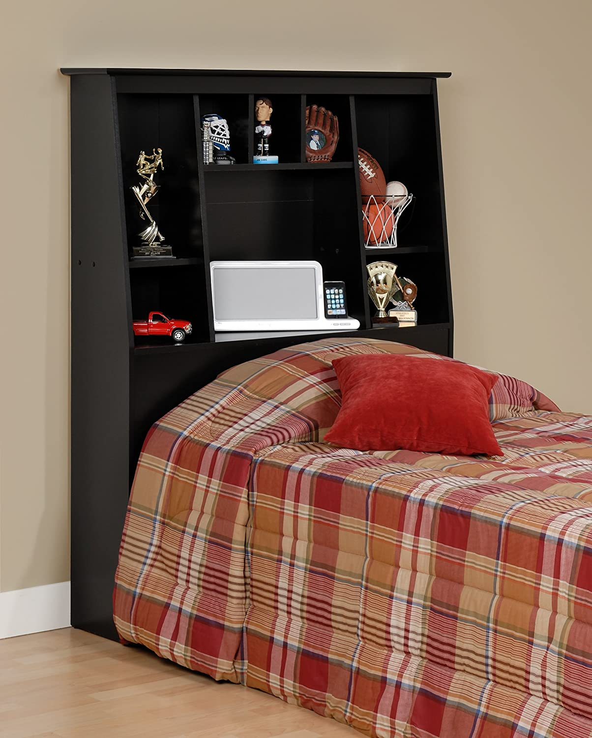 Amazon Com Black Twin Tall Slant Back Bookcase Headboard