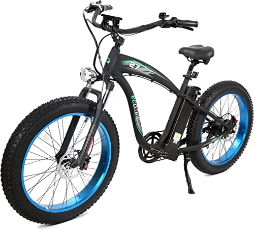 ECOTRIC Powerful Fat Tire Electric Bicycle 26 Aluminium Frame Suspension Fork Beach Snow Ebike Electric Mountain Bicycle 1000W Motor 48V 13AH Removable Lithium Battery