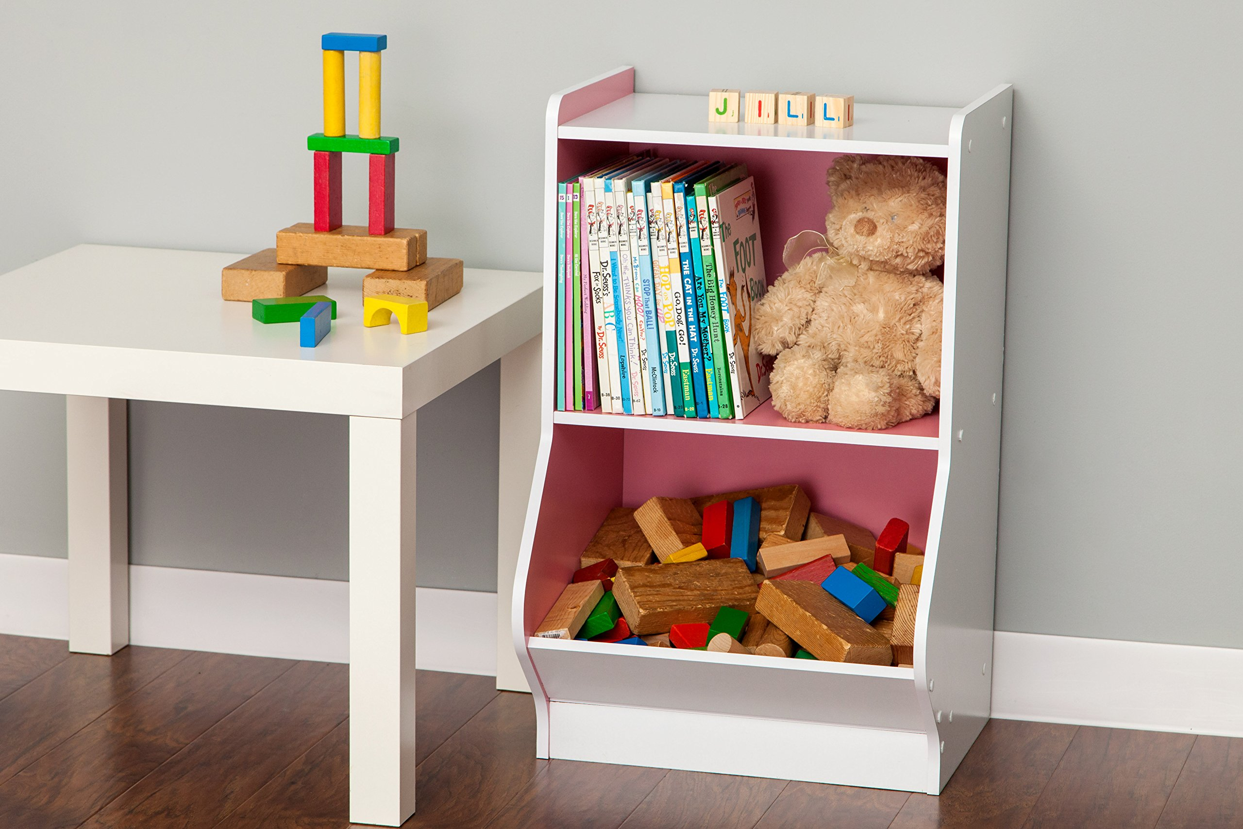 IRIS 2-Tier Storage Organizer Shelf with Footboard, White and Pink by IRIS USA, Inc. (Image #4)