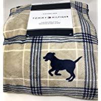 T H Navy Blue Dogs onTtan and Blue Plaid Throw Blanket with Sherpa Fleece Lining
