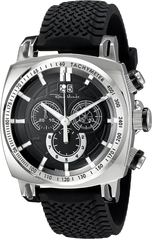Ritmo Mundo Men s 2221 1 SS Black Racer Analog Display Swiss Quartz Black Watch