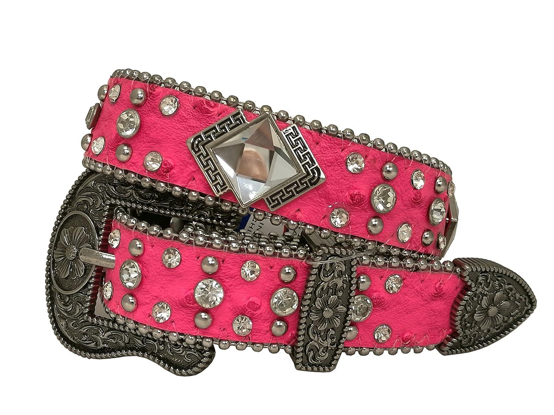 Kids Western Cowboy Cowgirl Ostrich //Crocodile Strap Rhombic Rhinestone Studded Shiny Belt