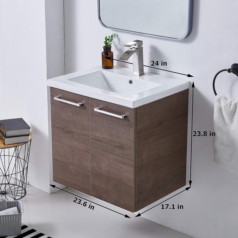 Amazon Com Mogiyin Modern 24 Brown Wall Mounted Bathroom Vanity Simple Design 2 Door 2 Handles Bathroom Sink Cabinet Vanities Combo Set With White Integrated Undermount Ceramic Vessel Sink Kitchen Dining