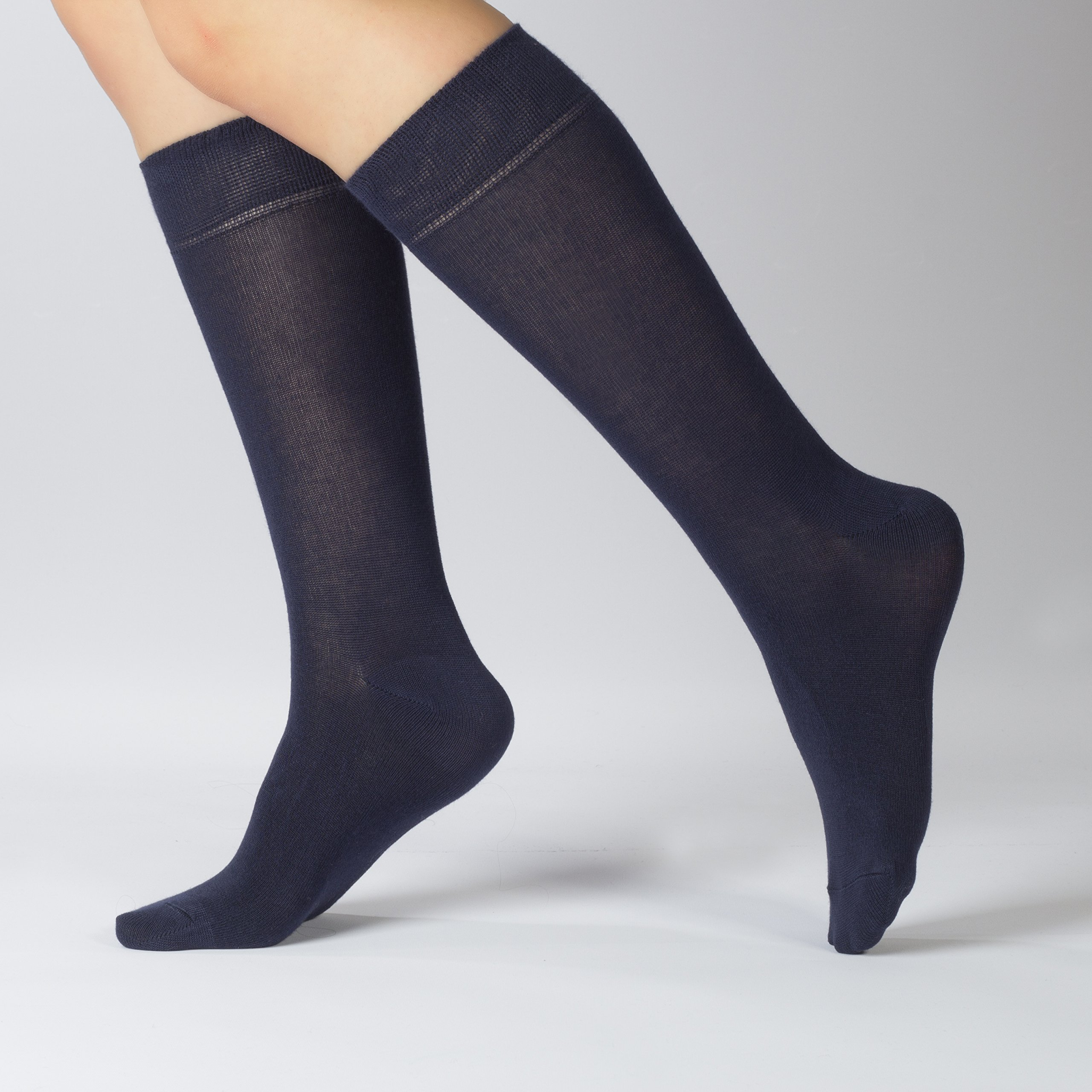 Hugh Ugoli Women's Dress Crew Socks Bamboo Business Casual Comfort Seam (Shoe size: 6-9, Navy Blue) by Hu Socks (Image #2)