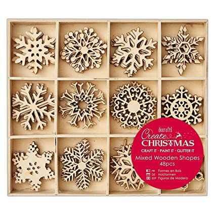 Create Christmas Snowflakes Mixed Wooden Shapes Beige Large 48 Piece