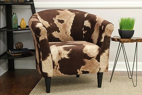 Mainstays Marlee Animal Printed Bucket Accent Chair Cowhide Brown