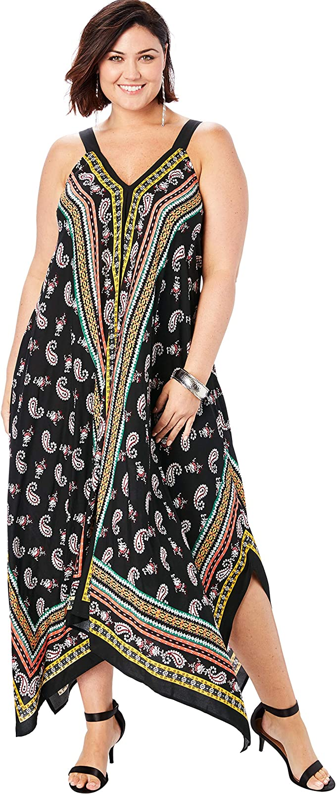 Women's Plus Size Scarf-Print Maxi Dress with Handkerchief Hem