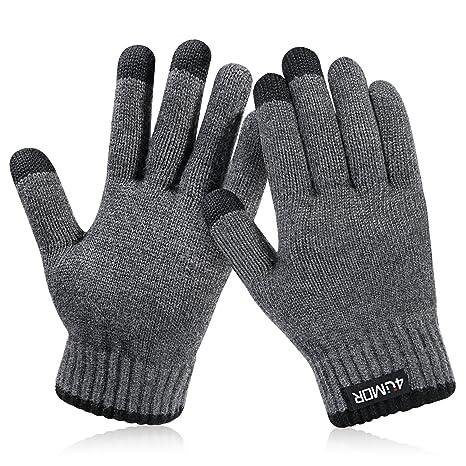 4UMOR Gants Tactiles Hiver Gants Tricotés Doux Elastique pour Ski,  Montagne, Randonnée, Sports 78e6dede761