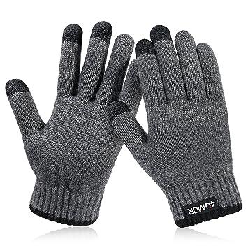 d39cbdba44f8aa 4UMOR Winterhandschuhe, Strick Fingerhandschuhe mit Herrenhandschuhe (S)