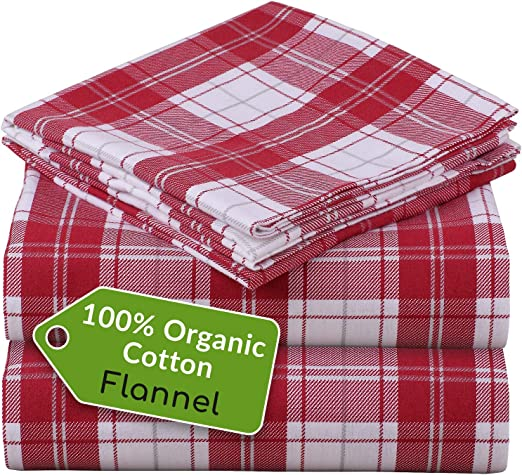 Amazon Com Mellanni 100 Organic Cotton Flannel Sheet Set Heavyweight 180gsm 4 Pc Luxury Bed Sheets Cozy Soft Warm Breathable Bedding Deep Pockets All Around Elastic Queen Burgundy Plaid Home Kitchen