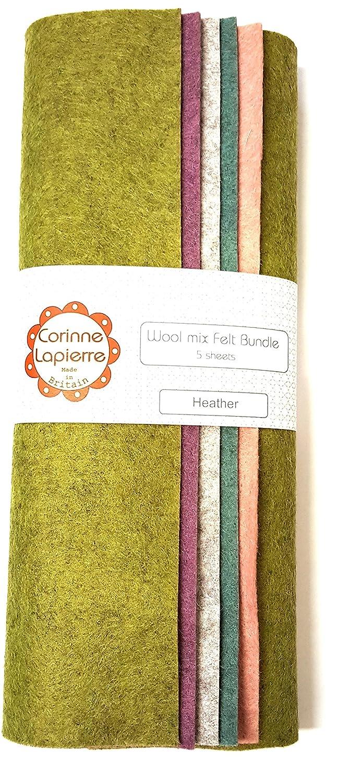 Corinne Lapierre Wolle Mix Filz 22,9/cm Bundle Von 5/verschiedene Schattierungen Heather 22,9/cm quadratisch