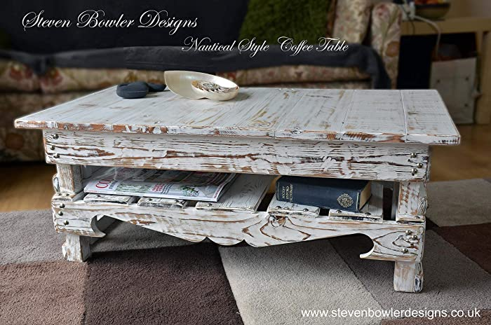 White Nautical Rustic Reclaimed Wood Coffee Table Driftwood