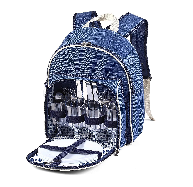 *Luxuriöser Picknickrucksack für zwei Personen mitBesteck und Kühlfach*