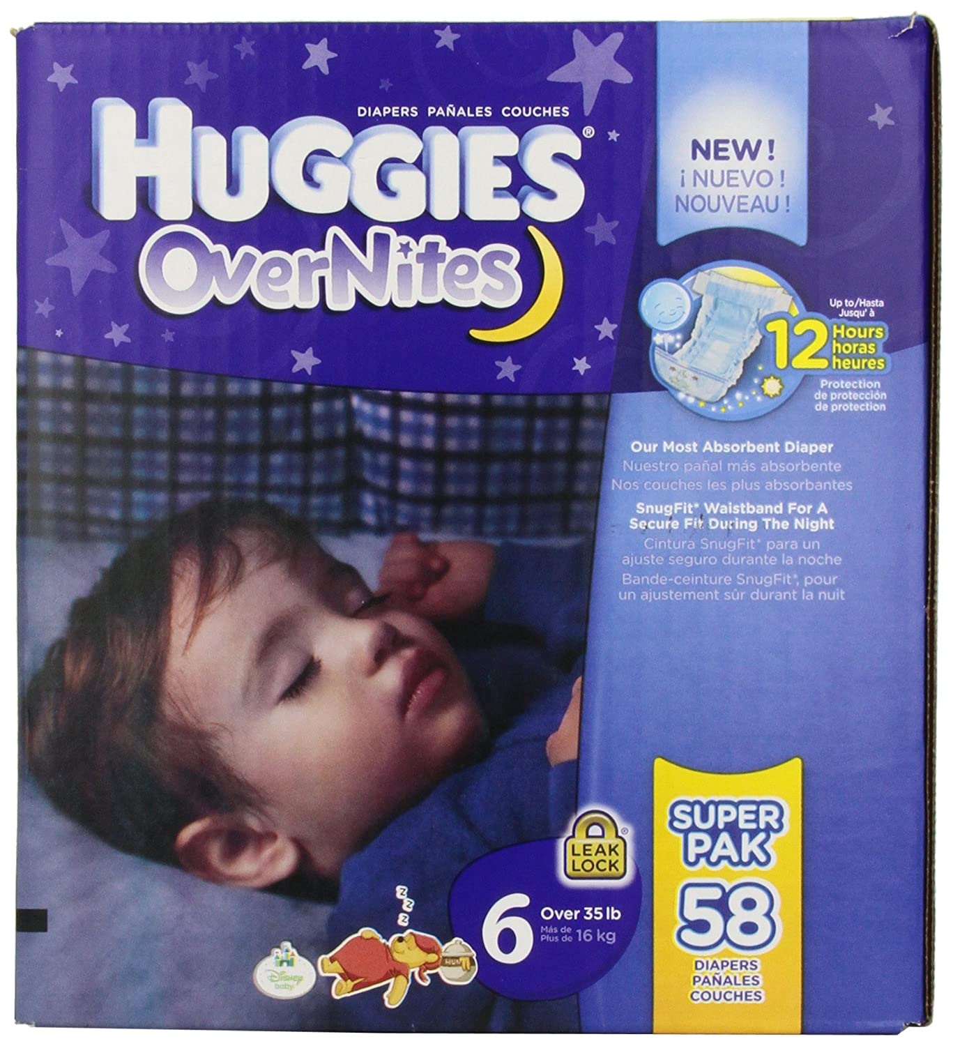 Amazon.com: Huggies Overnites Diapers, Size 6, Big Pack, 58 Count: Health & Personal Care