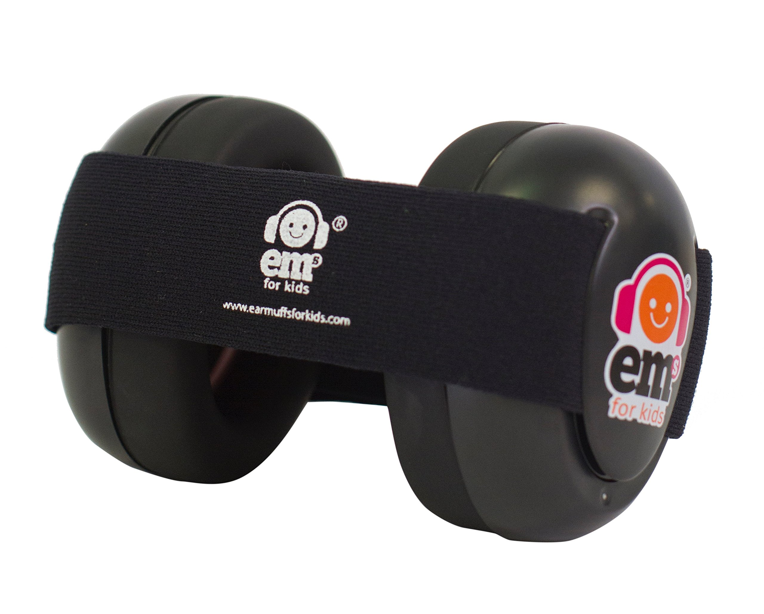 Ems for Kids Baby Earmuffs - Black with Black. Made in The U.S.A! The Original and ONLY Earmuffs Designed specifically for Babies Since 2009