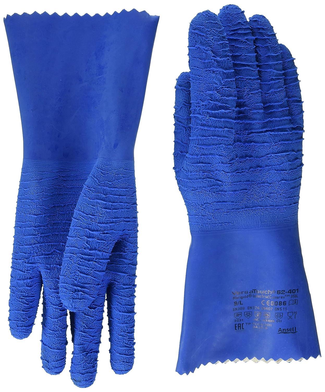 bolsa de 6 pares Ansell 62-401//7 VersaTouch Caucho natural guante Protecci/ón contra productos qu/ímicos y l/íquidos Azul Tama/ño 7