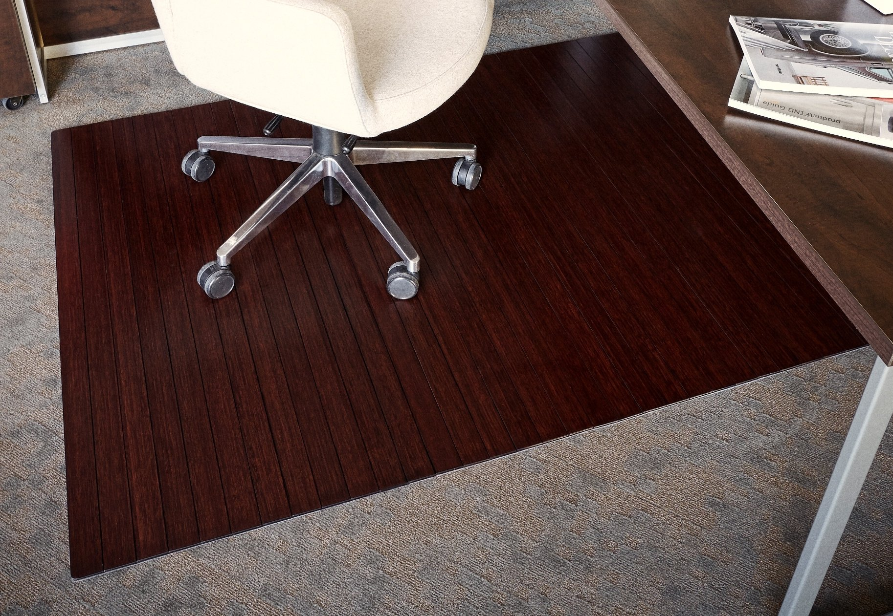 Anji Mountain Bamboo Roll-Up Chair Mat Without Lip, Dark Cherry, 48 x 72'', 5mm Thick by Anji Mountain