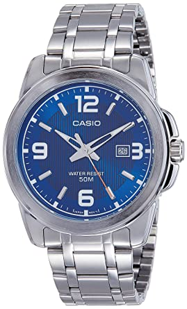 Casio Mens MTP-1314D-2A Enticer Series Silver Band Blue Dial with Date Dress