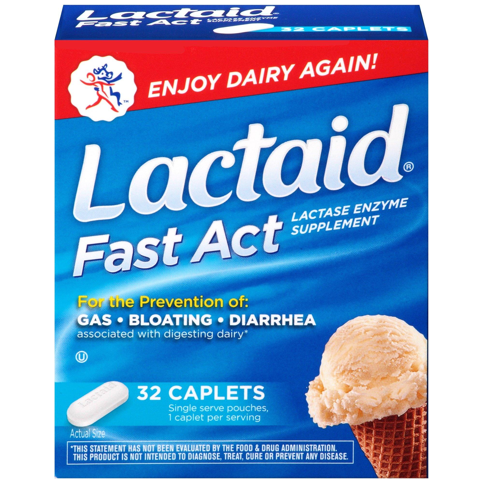 Lactaid Fast Act Lactose Intolerance, Lactase Enzyme Pills 32 single-dose pouches