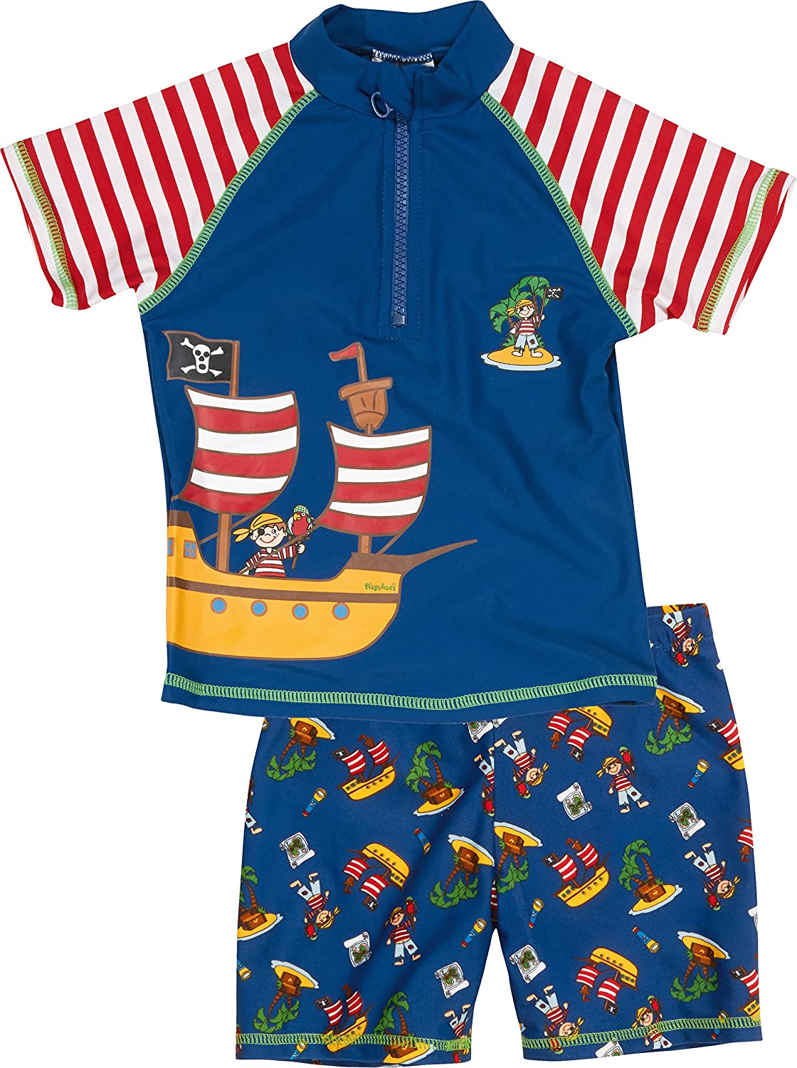Playshoes Boy's UV Sun Protection 2 Piece Swim Set Swimsuit Pirate Island Swim Shorts Blue (Original) 460262 460262_44-74/80
