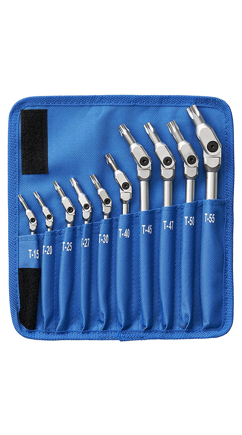 Bondhus 00022 HEX-PRO Pivot Head Torx Wrench Set (10 Piece), Includes Sizes: T15, T20, T25, T27, T30, T40, T45, T47, T50 & T55, Chrome