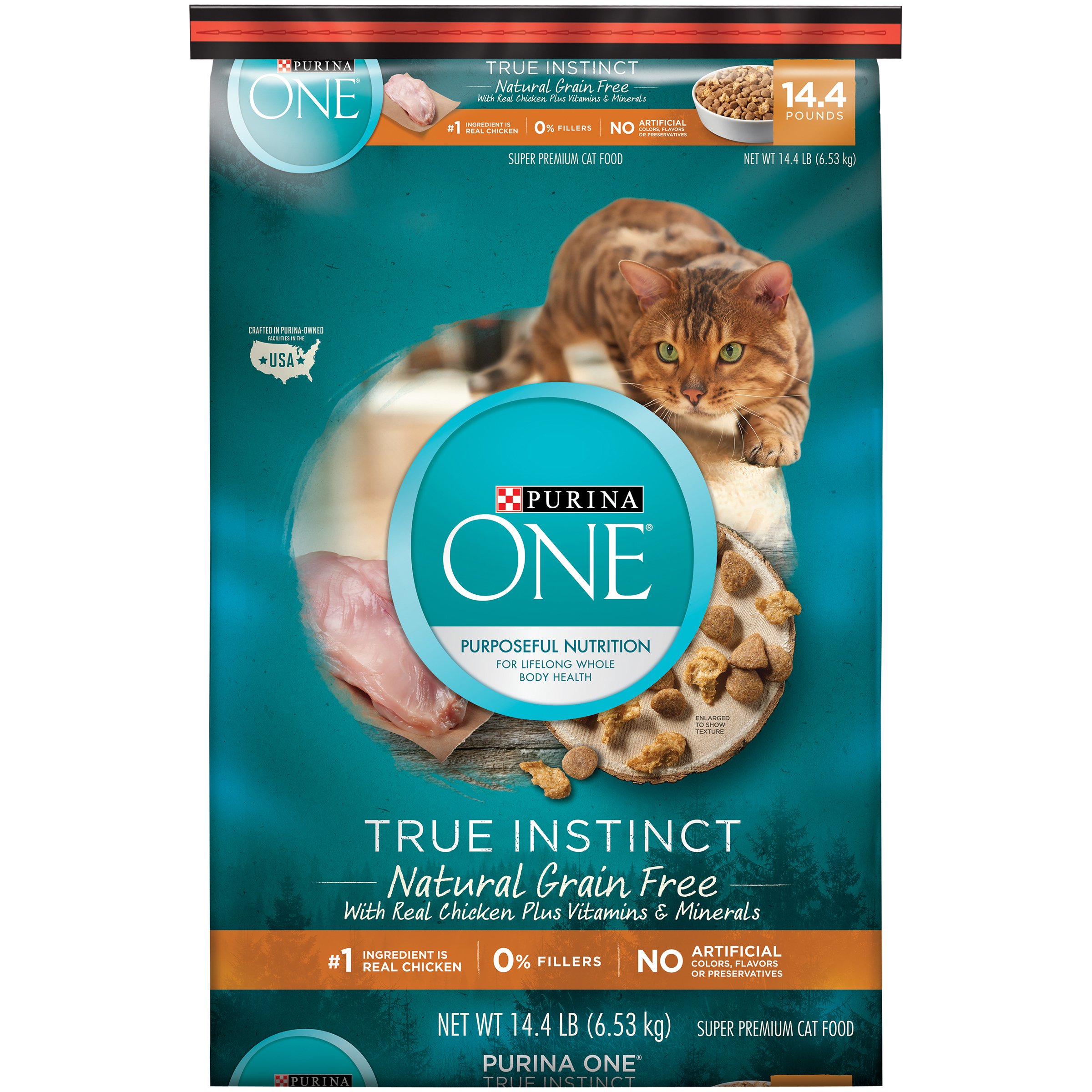 Purina ONE True Instinct Natural Grain Free With Real Chicken Plus Vitamins & Minerals Cat Food - (1) 14.4 lb. Bag