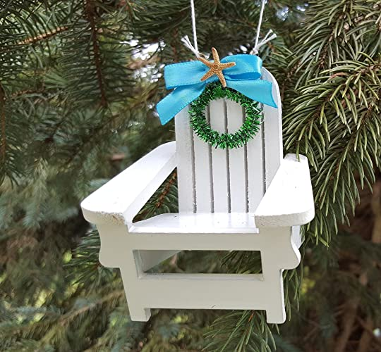 beach adirondack chair christmas ornament coastal nautical beach chair holiday ornament - Coastal Themed Christmas Decorations