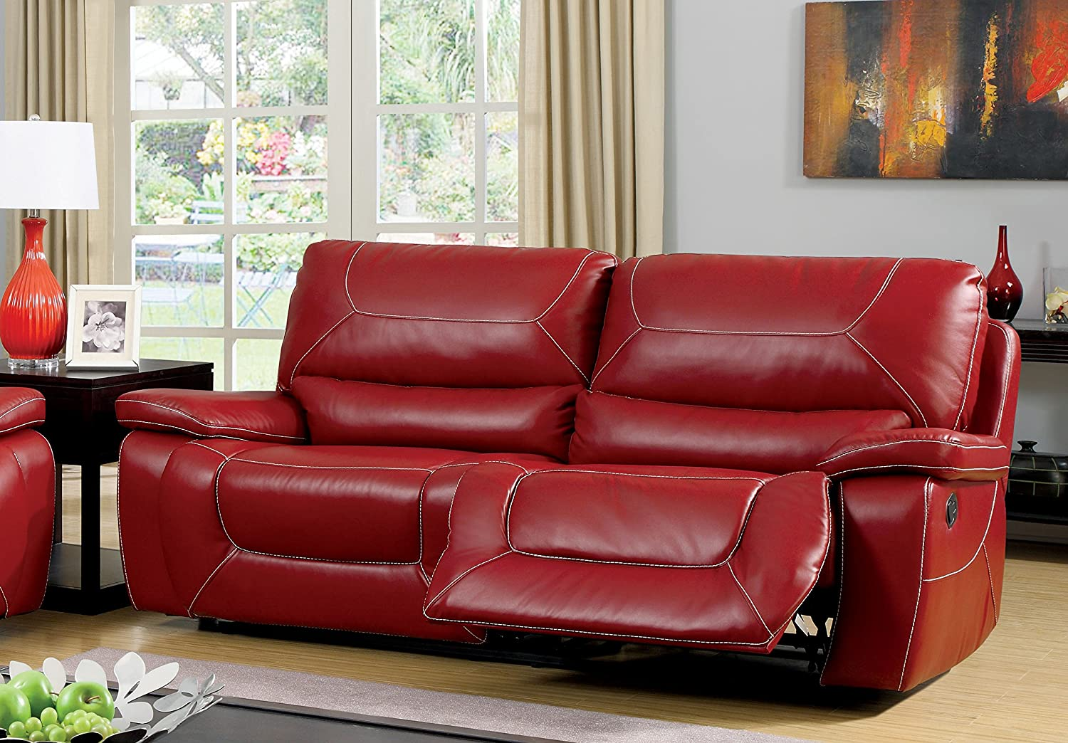 Amazon.com: Furniture Of America Dunham 2 Recliner Sofa, Red: Kitchen U0026  Dining
