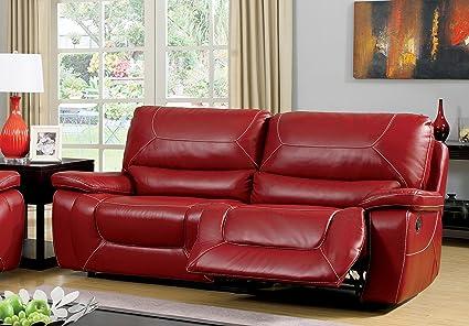 Homelegance Pecos Power Reclining Sofa Set - Leather Gel Match - Red ...