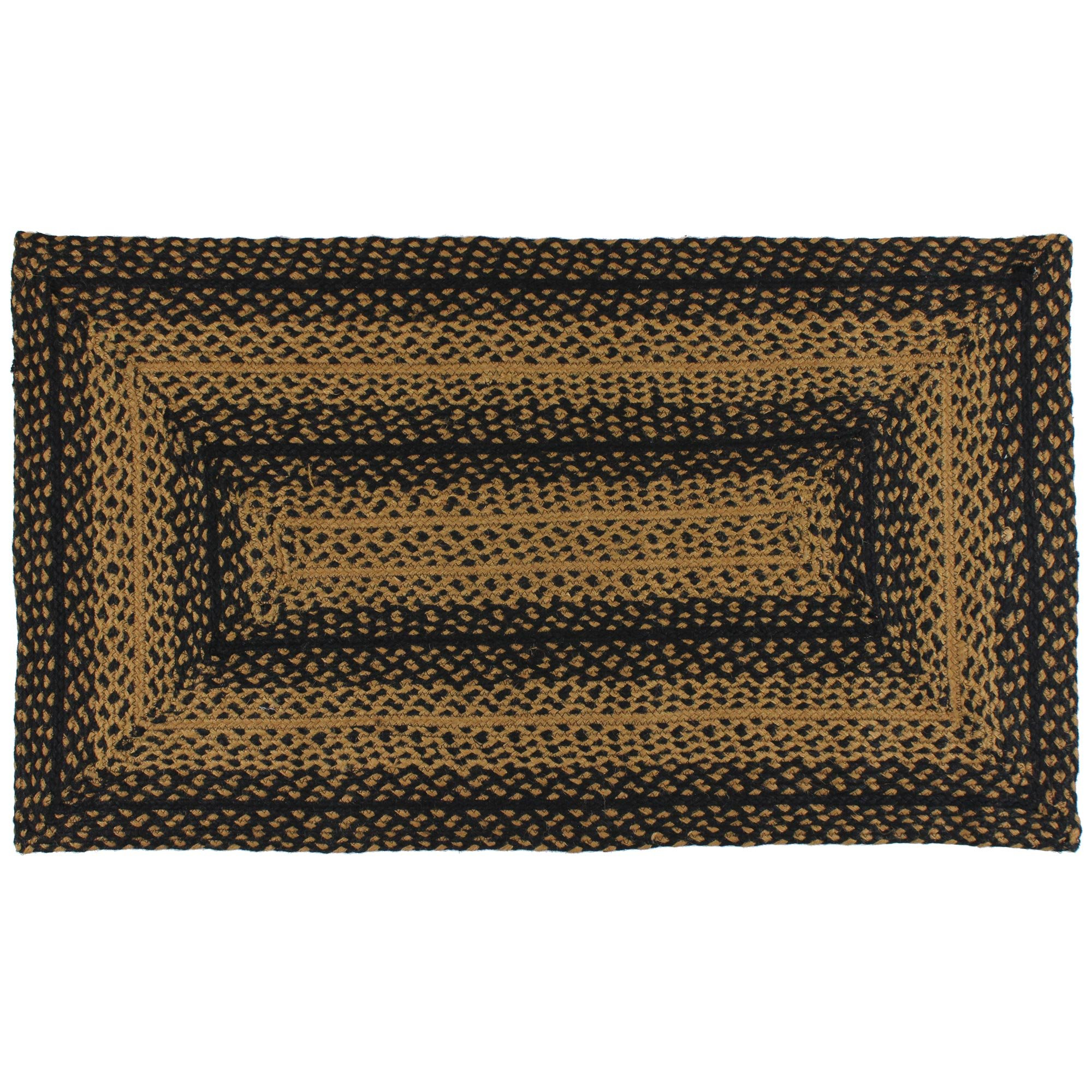 IHF Home Decor Ebony Design Rectangle Braided Rug 20'' x 30'' Country Style Area Floor Carpet Jute Fiber