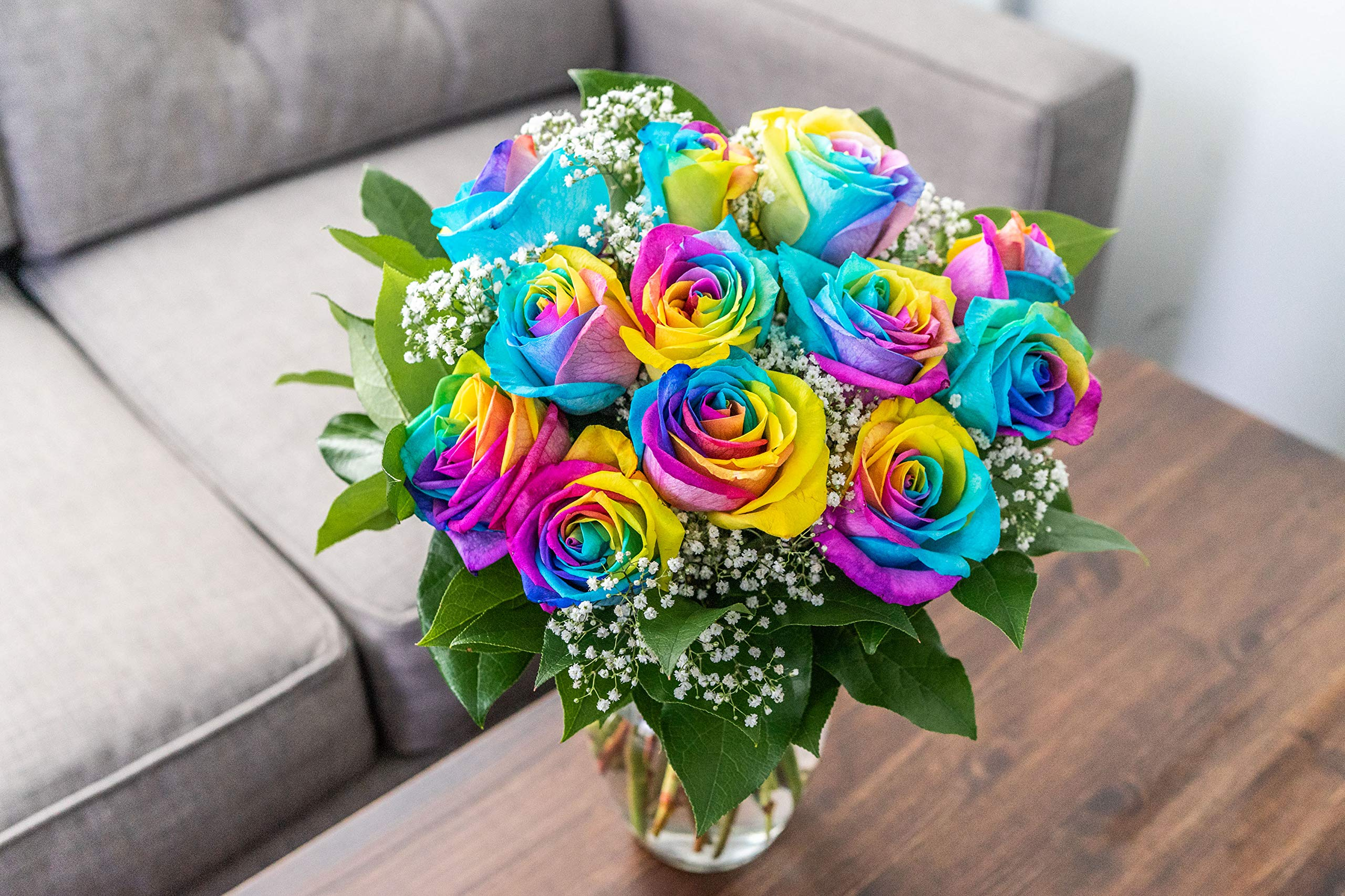 Flowers - One Dozen Wild Rainbow Roses (Free Vase Included) by From You Flowers