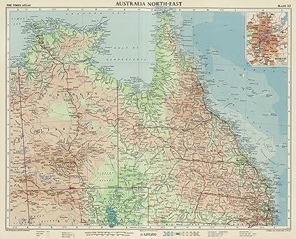 Map Of North East Australia.Amazon Com World Atlas 1958 Australia North East Plate 13 V 1