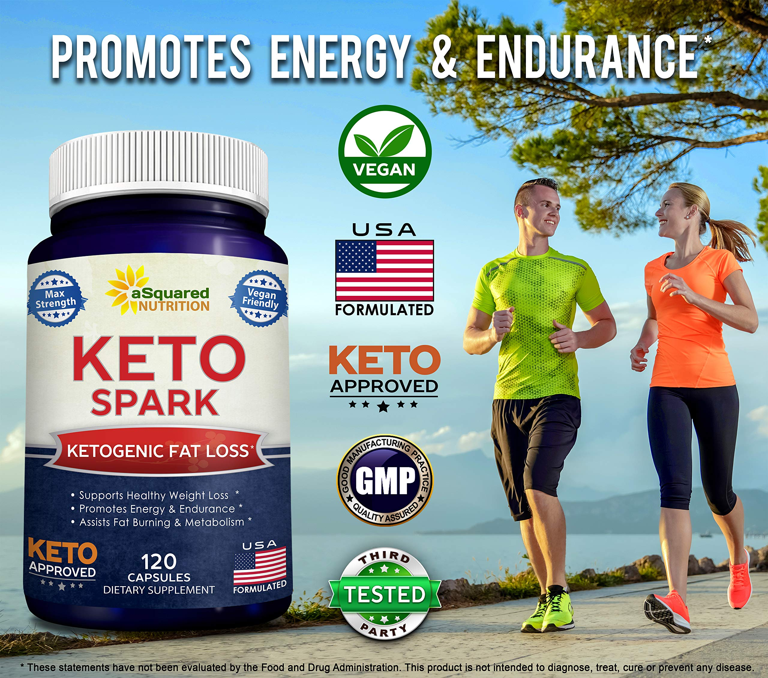 Keto Spark - Supplement for Weight Loss (120 Capsules) - Pills Approved for The Ketogenic & Paleo Diet - Helps Stay in Ketosis, Increase Energy & Focus - Caffeine & Ketones for Women & Men by aSquared Nutrition (Image #3)