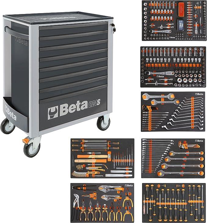BETA Easy 400S-O8/E-XL 024002293 Carro de herramientas con 8 cajones con surtido de herramientas de 384 piezas, gris: Amazon.es: Bricolaje y herramientas