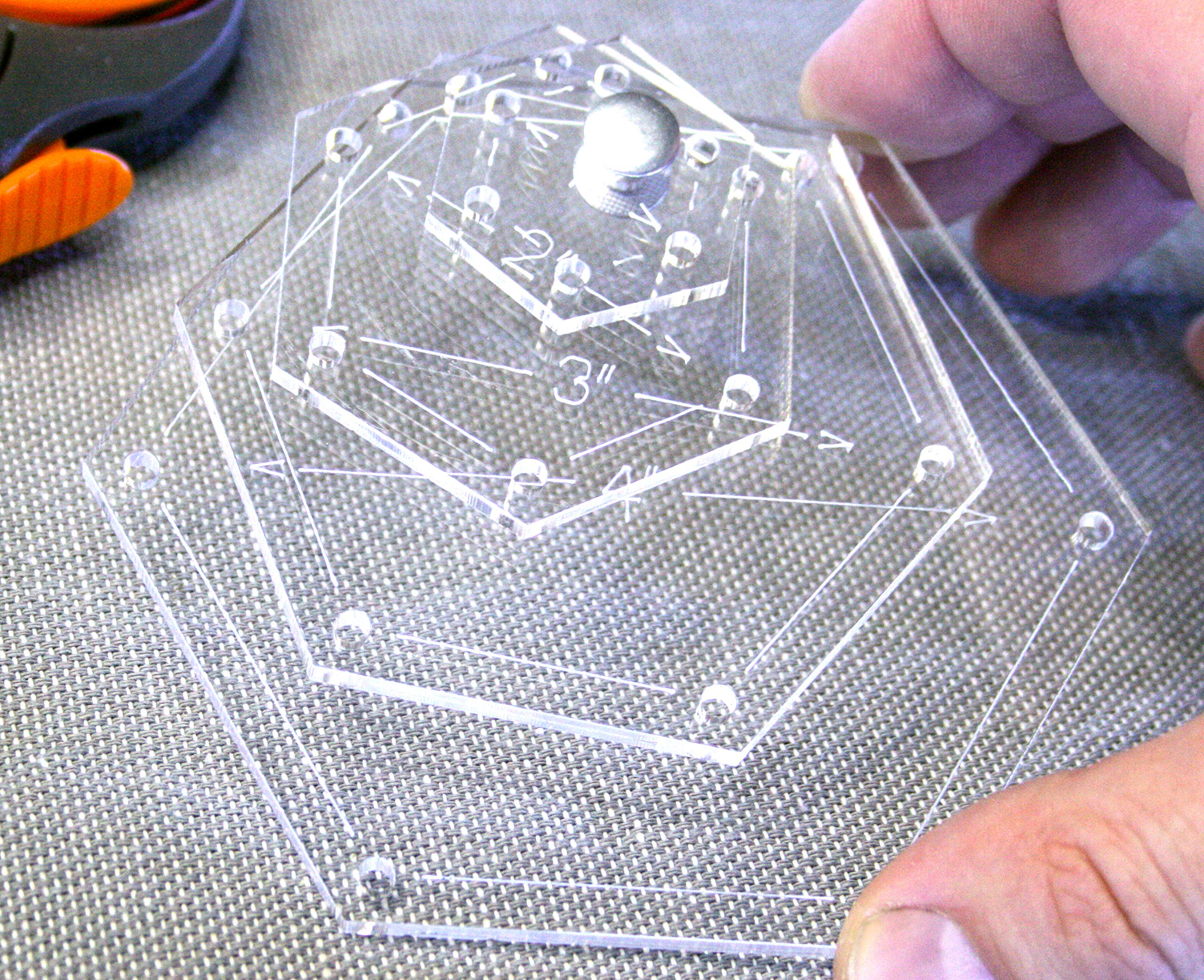 Hexagon Premium Acrylic Quilting Template Kit - 4'' 3'' 2'' 1'' - Point to Point - 1/4'' Seam Allowance by Jackalope Supply