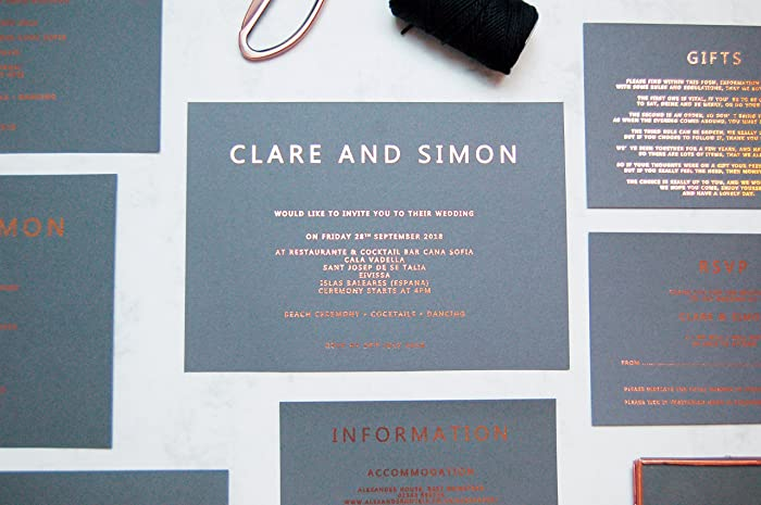 Grey And Rose Gold Foil Wedding Invitation Grey And Copper Foil