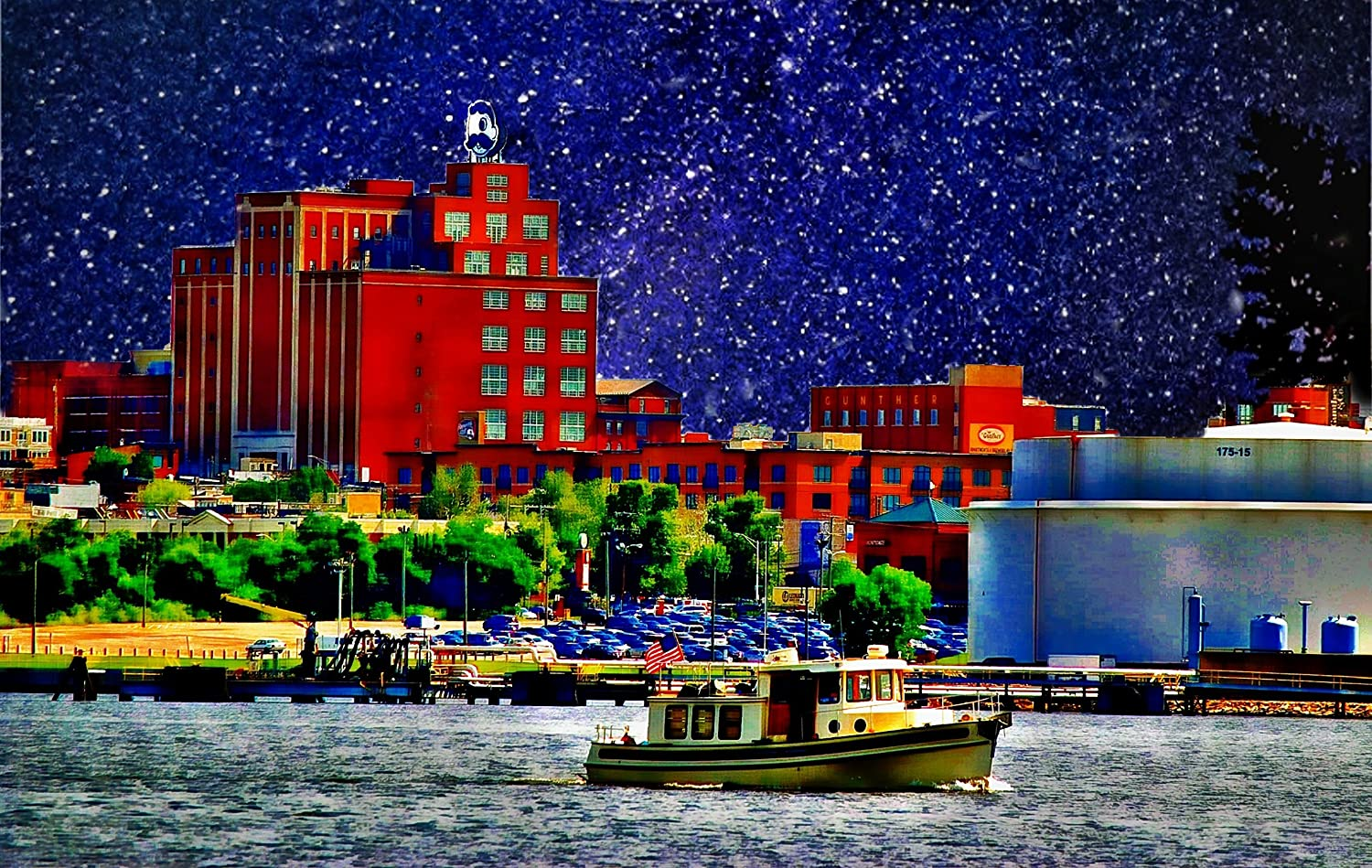 Natty Boh Tower, Night, Sailing by Canton, Baltimore, Art, Canton Skyline, Poster Print